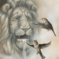 'Teasing the King', 30x40 cm, oil painting $1,600 incl frame