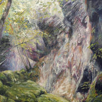 'Dry waterfall at Herisson', 70x100 cm, oil painting (NFS)