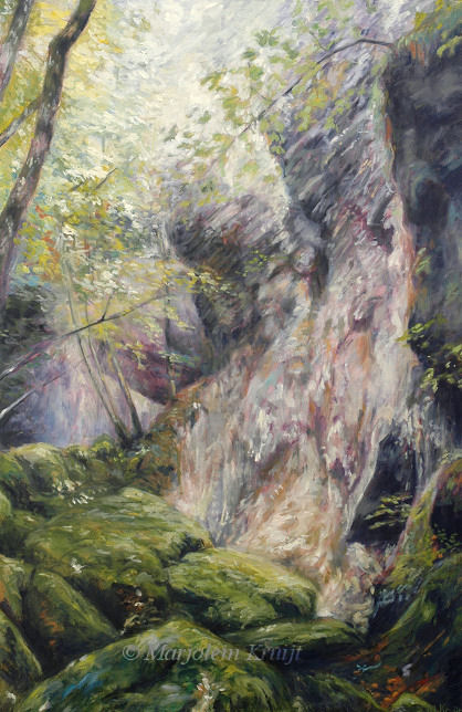 Dry Waterfall At Herisson 70x100 Cm Oil Painting