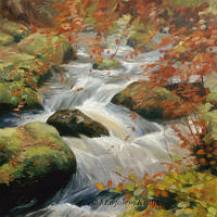 'Becky falls'-autumn, 60x60 cm, oil painting (nfs)