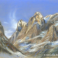 'Alps' -mountains, 30x24 cm, pastel painting, (for sale)