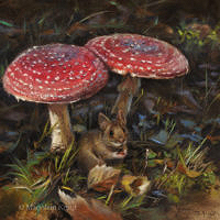 'Dangerous appetite'-wood mouse, 20x20 cm, oil (sold)