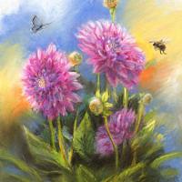 'Dahlias', 22x27 cm, pastel painting (for sale)