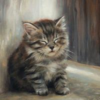 'Dreaming'- kitten portrait, 18x24 cm, oil painting (sold)