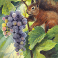 'Squirrel with grapes', 18x24 cm, oil painting (for sale)