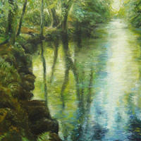 'Pond In Devon', 60x80 cm, oil painting (sold)