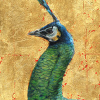 'Green peacock', 18x24 cm, painting in oil and gold (sold)