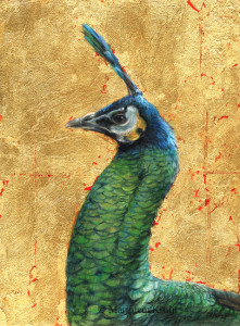 'Green peacock', 18x24 cm, painting in oil and gold (N/A)