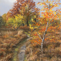 'Autumn and heatherfield', 25x30 cm, pastel, (for sale)