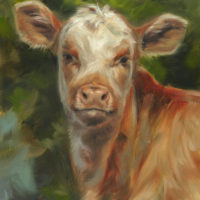 'Calf', 24x18cm, oil painting $1,400 incl frame