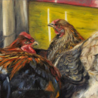 'Chickens', 24x18cm, oil painting (for sale)