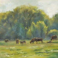 'Sunlit cows'- en plein air, 20x20 cm, oil painting (sold)