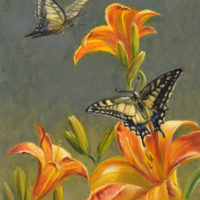 'Old World swallowtails on lilies', 18x24 cm, oil painting $1,600 incl frame