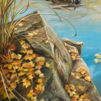 'Golden Autumn'-Mandarin duck, 40x60 cm, oil (for sale)