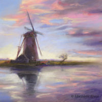 'Windmill by sunset'-Netherlands, 30x30 cm, pastell, €750 (framed)