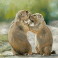 'Kiss'- prairie dogs, 24x18 cm, oil painting (sold)