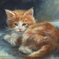 'Red kitten', 18x13 cm, oil painting (sold)