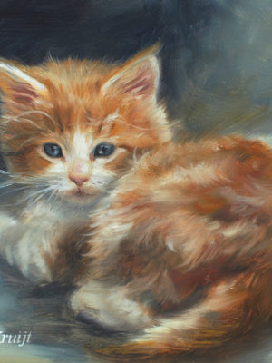 'Red kitten', 18x13 cm, oil painting (sold)