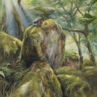 'Enchanted woods'- Eur.robin, 30x40 cm, oil (for sale)