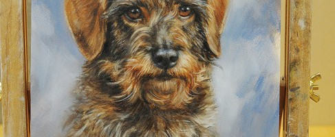 Dachshund portrait painting step by step by Marjolein Kruijt