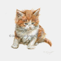 Miniature portrait, red kitten, acrylics, 10x10 cm, Marjolein Kruijt (sold)