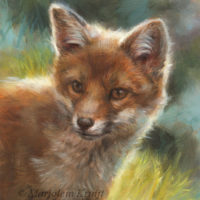 'Foxy', painting 18x13 cm, oil $1,100 at Trailside galleries WY-USA