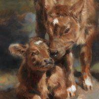 'Siblings', 18x13 cm, cow-painting (sold)