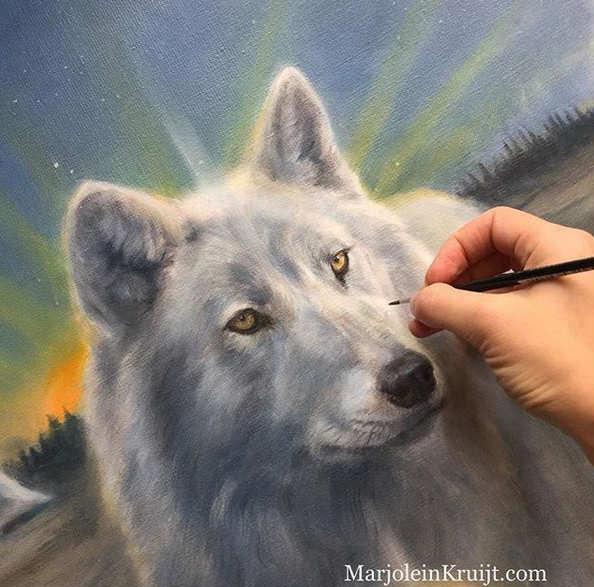 Wolf schilderij (close-up) Illumined serie, Marjolein Kruijt