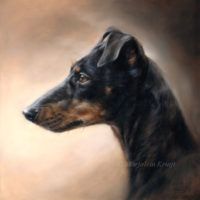'Manchester terrier', oil 30x30 cm (sold/commission)