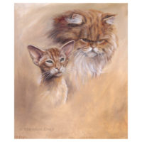 'Eastern shorthair and persian' cats, 35x30 cm, oil painting (for sale)