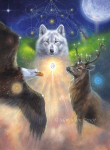 Cover artwork Archangel Animal oracle card deck - wolf, bald eagle, stag