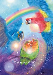 'Parrots', oil painting (published as oracle card)