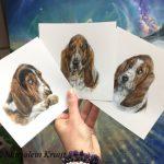 'Basset hounds', miniatuur portretten 13x13cm (opdracht/verkocht)