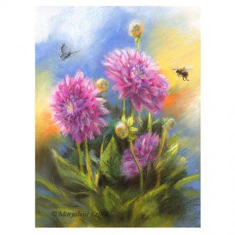 'Dahlia's', pastel 27x22 cm incl frame