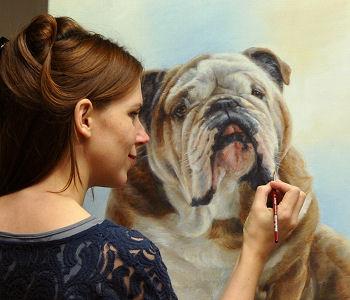 English bulldog painting by pet portrait artist Marjolein Kruijt