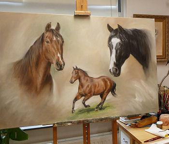 Horse painting by pet portrait artist Marjolein Kruijt