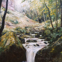 'Waterfall at Herisson', 100x120 cm, oil painting (for sale)