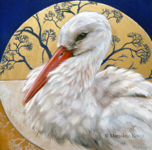 'The gift of the white stork', 20x20 cm, oil and gold (sold)