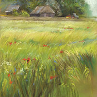 'Summer' -dutch farm, 22x29 cm, pastel painting, €650 (framed)