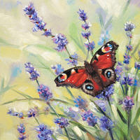 'Peacock butterfly on lavender', 13x18 cm, oil painting (for sale)
