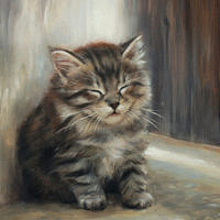 'Dreaming'- kitten portrait, 18x24 cm, oil painting (sold)