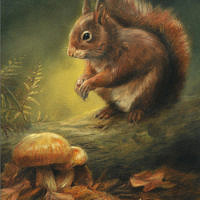 'Autumn squirrel', 18x24 cm, oil painting (for sale)