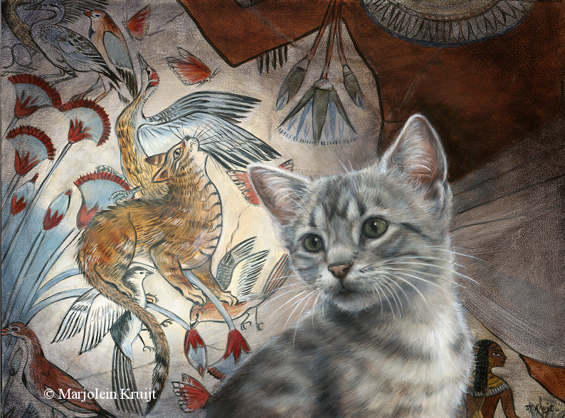 'Nebamuns tale' -Egyptian mau, 60x40cm, oil painting (sold)