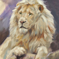 'White king'- lion, 18x24 cm, oil painting (for sale)
