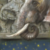 'Memories'-indian elephant, 22x29 cm, pastel (for sale)