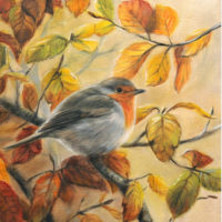 'Autumn colors'- Eur.robin, 18x24 cm, oil painting (for sale)