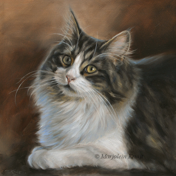 Cat portrait painting fur in oil marjolein kruijt for Cat paintings on canvas