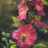 'Hollyhock', 13x18 cm, oil painting (for sale)