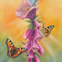 'Foxglove & butterflies', 13x18 cm, oil painting (for sale)