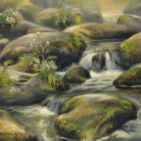 'Waterfall', 30x24 cm, oil painting, (for sale)